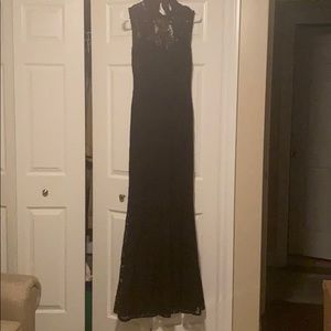 Betsy & Adam Black Lace Open Back Gown
